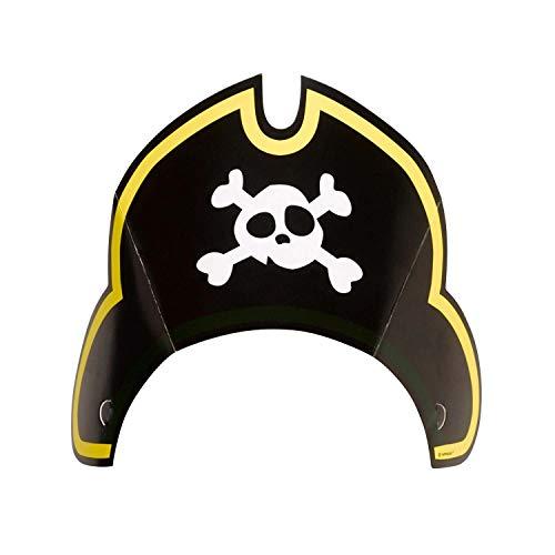 Amscan 9902129 - Partyhut Pirat, 8 Stück, Größe ca. 27,5 x 18,5 cm, mit Gummiband, Papierhut, Hut, Kappe, Seeräuber, Totenkopf, Kopfbedeckung, Geburtstag, Karneval, Mottoparty