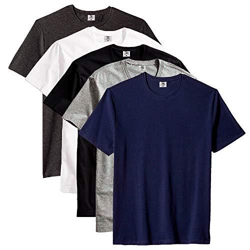 Kit com 5 Camiseta Masculina Básica Algodão Premium (Azul, M)