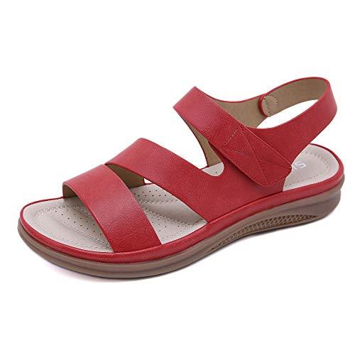 Sandali Da Passeggio Rossi Donna Antiscivolo Leggero Di Grandi Dimensioni Con Zeppa Retro Sandali Comodi Tacco Piatto Scarpe Da Spiaggia Con Cinturino