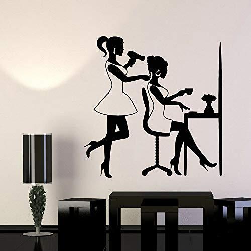 JXND Friseur Mädchen Vinyl Wandtattoo Beauty Salon Haar Frau Friseur Wandaufkleber Moderne Wohnkultur Schlafzimmer Dekoration 45x46cm