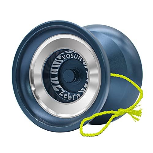 VOSUN Zebra Responsive yoyo for Kids, Professional Pocket Metal yoyo, Undersize Aluminum yoyo Ball with 3 Strings
