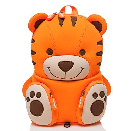 Pandana® Kinderrucksack Tommy Tiger mit Brustgurt für Jungen und Mädchen von 2-5 Jahren, Kindergarten, Kita oder Kinderkrippe, aus isolierendem Neopren mit Anti-Lost-System