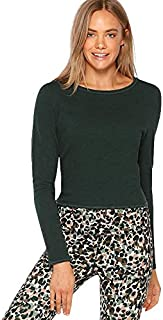 Lorna Jane Women's Open Back Cropped L/SLV Top