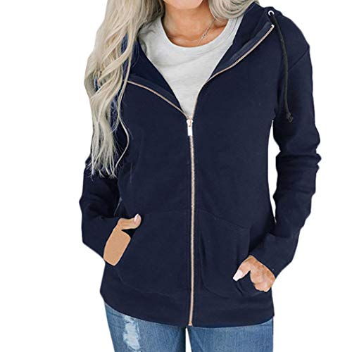 Womens Jumpers Lightweight Plus Size Long Sleeve Solid Zip Hoodie Jacket Outwear Navy