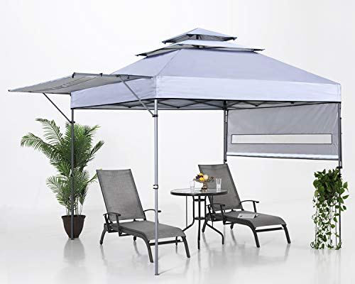 ABCCANOPY 10x17 Pop up Gazebo Canopy 3-Tier Instant Canopy with Adjustable Dual Half Awnings, Gray
