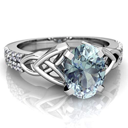 glowspectrajewels Celtic Ring 1.15 CTW Oval Aquamarine & CZ Diamonds 14K White Gold Fn (6)