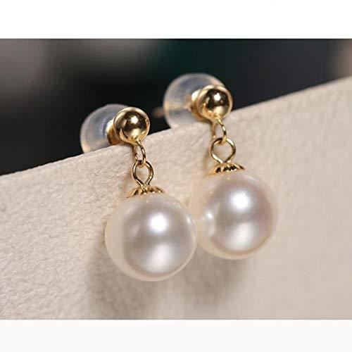 HAKLAKY Aretes de Plata Representado 18K / Aretes de Perlas cultivadas de Agua Dulce Blanca Fuerte de la Ronda Lustre 7-7,5 mm un Regalo for los Pendientes Largos de la Madre Pendientes de Mujer