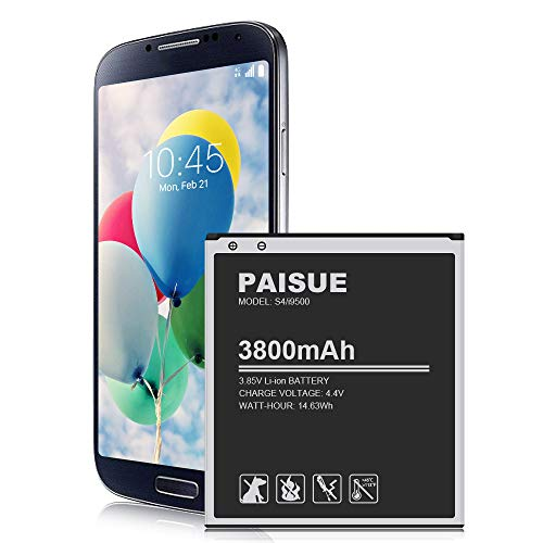 Galaxy S4 Battery, 3800mAh New Upgraded Li-ion Replacement Battery for Samsung Galaxy S4 EB-B600BE, I337 AT&T, I545 Verizon, L720 Sprint, M919 T-Mobile, I9506 LTE, I9500, I9505, R970 (Not for S4 Mini)
