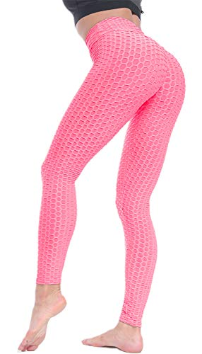 Beelu Damen Gym Leggings High Waist Push Up Sport Leggins Fitnesshose, Rosa, Gr.- M