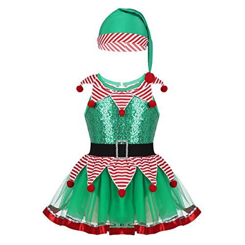 IEFIEL Disfraz de Elfo Elfa Niña Tutú Vestido de Duende Lentejuelas Brillante con Sombrero Gorro Traje de Navidad Halloween Cosplay Xmas 2-12 Años Verde sin Manga 5 Años