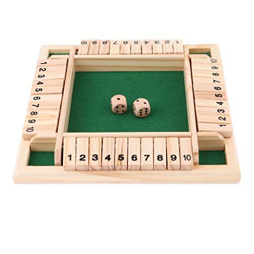 URNOFHW 4-seitig 10 Zahlen Shut The Box Brettspiel for Kinder und Erwachsene Geburtstag Trinken Prop KTV Pub-Stab-Partei-Brettspiel