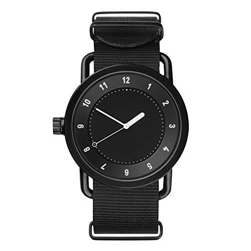 achidistviq-leisure nylon quadrante rotondo al quarzo, analogico unisex coppia regalo orologio da polso–nero + nero