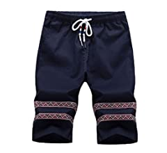 Comaba Men Cotton Pinstripe High Rise Half Casual Swim Shorts Boardshort