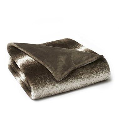 Vellux Faux Mink Fur Throw Blanket, 50  W x 60  L, Brown