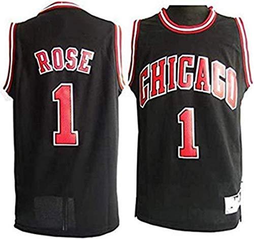 XSJY Jersey De Las Mujeres para Hombres - NBA Chicago Bulls # 1 Derrick Rose Jerseys Transpirable Bordado Baloncesto Swingband Jersey,S:165~170cm/50~65kg
