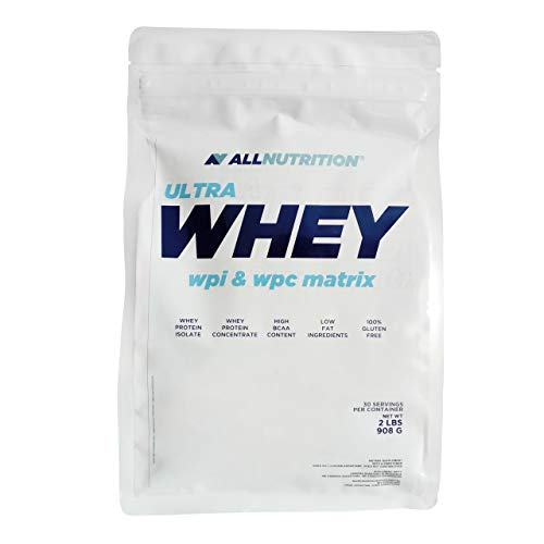 ALLNUTRITION Ultra Whey WPI and WPC 1 Pack 908g (2lbs) Whey Protein Powder Muscle Builder Protein Powder 100% Gluten Free Low Fat Branched Amino Acids (Caramel)