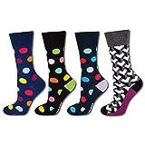 soxo Herren Bunt Gemusterte Socken (4 Paar) | Premium Baumwolle Socken | Modische Muster - Punkte, Herzen & Mehr (Set 1)