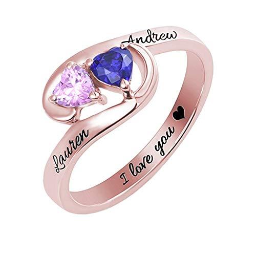 Coudf Anillo con Nombre Personalizado con 2 Piedras de Nacimiento Anillo de Aniversario de Navidad de Plata esterlina para Mujer(Oro Rosa 22.5)