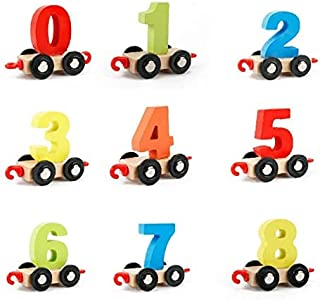 Blue Zebra Wooden Train Set with Numbers 0-9 Educational Toys for Kids-Best Gifts for Kids Toddler Boys and Girls-Toy Train Sets for Kids Toddler Boys and Girls