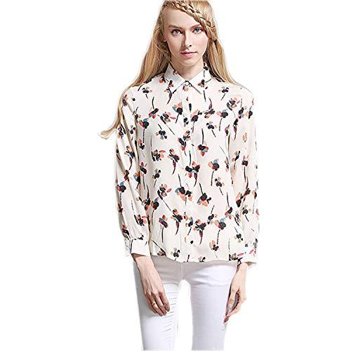 Cnsdy Camisas para Mujeres Camisas de Gasa Sueltas Camisas de Estampado de Manga Larga Blusas de chifón