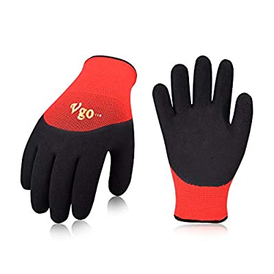 Vgo 5Pairs Freezer Winter Work Gloves, Double Lining Textured Rubber Latex Coated for Outdoor Heavy Duty Work(Red, RB6032)