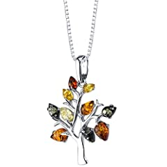 Rich Cognac Color Amber, 10 Pieces Multiple Colors - Dark Cognac, Light Cognac, Olive Green and Light Yellow Made out of Sterling Silver Exclusive Styling and High Quality Craftsmanship Includes 18 inch Sterling Silver Box Chain Necklace 30 Day Money...
