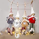 JJZXD 4 unids Muñeca de Navidad for Navidad Árbol Decoración Colgante Lindo Peluche Muñeca Árbol de Navidad Colgante Ornamentos (Color : A, Size : 10 * 20cm)