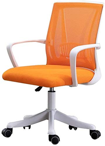 WYL Office Chair Computer Chair Adjustable Height Eronomic Office Desk Chair with Lumbar Support Mesh Excutive Council Chair for Office Meeting Room (Color : Orange, Size : White Frame)