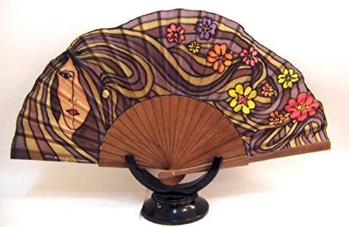 "Abanico de seda natural pintado y montado a mano""Melena con flores"""