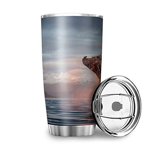 Dessionop Botella de agua Tumbler con diseño de ballena con luz solar y mar de vida, botella de agua de 20 onzas a prueba de fugas, tapa de color blanco, 600 ml