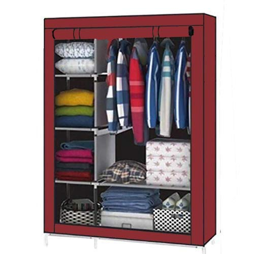 Aventure 4Q.Q Feet Portable Non Woven Fabric Metal Frame Wardrobe Cabinet, Collapsible Cloths Organizer With Shelves Washable Cover