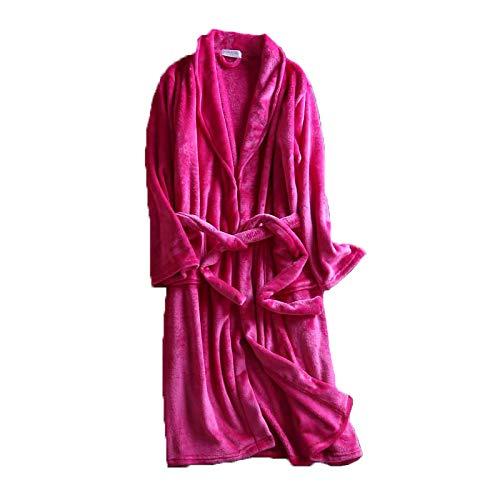 ガウン メンズ レディース 着る毛布 ツルツルフランネルフリース ホテル 冬 起毛 ナイトウェア あったかい もこもこ やわらかい ローブ部屋着 秋 男女兼用 おそろい ペアルック ペア (L, ピンク)
