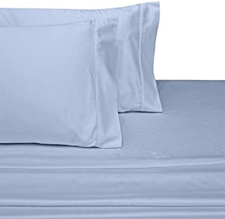 CinchFit USA Made & Maine Made Split Flex Top King Sheets - The Only Stay On and No Tear Design - Adjustable Bed Sheet Set 300 Thread Count 4PC (Light Blue, Split Flex Top King)