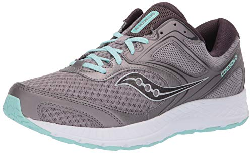 Saucony Women's VERSAFOAM Cohesion 12 Road Running Shoe, Grey/Teal, 10 W US