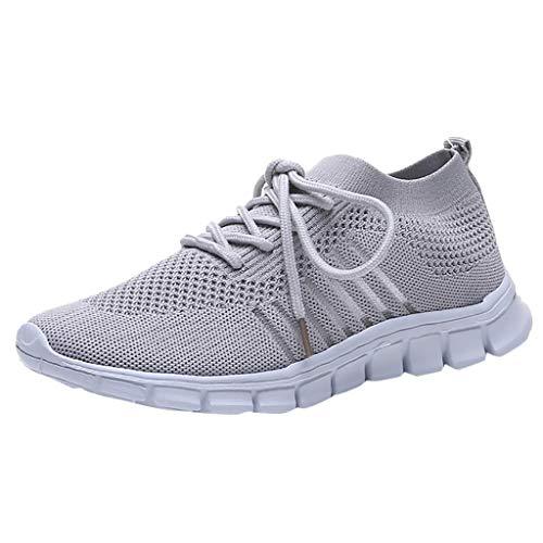 Damen Laufschuhe Fliegen Weben Sneaker Socken Schuhe Turnschuhe Freizeitschuhe Student Leichte Sportschuhe für Trainning Running Fitness Gym Walking Jogging Laufen, Grau, 39 EU