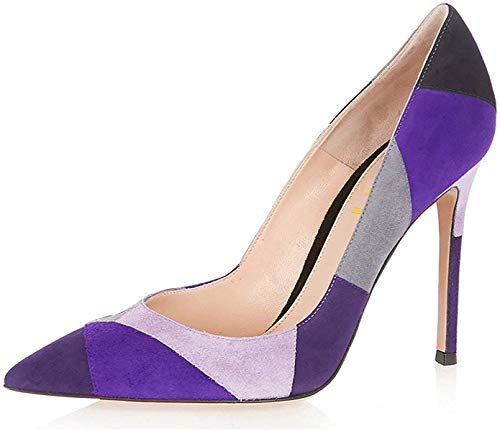 FSJ Women Chic Faux Suede High Heels Pumps Pointed Toe Slip On Office Dress Shoes Size 10 Purple
