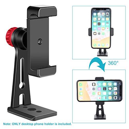 Neewer Handy Halter Klammer Tisch Stativ mit Mini Ball Kopf Blitzschuh Adapter für 14-Zoll und 18-Zoll Ring Licht und iPhone, Samsung, Huawei Smartphone innerhalb einer 2,2-3,5 Zoll Breite