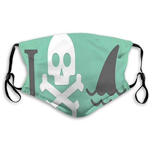 MundschutzWiederverwendbarerMundschutzimFreien,Shark Love Themed Creepy Dead Skull Head with Bones and Animal Fun Dangeraous Design,NahtloseRänderAußenabdeckungen