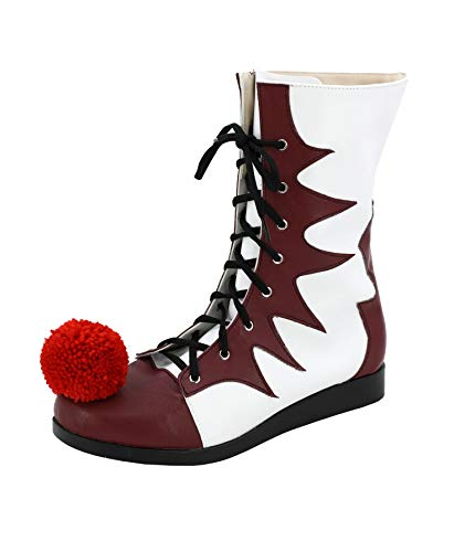 Allten Mens Clown Joker Pennywise Lace up Boots Shoes Halloween Cosplay Costume (9.5 M US Male)