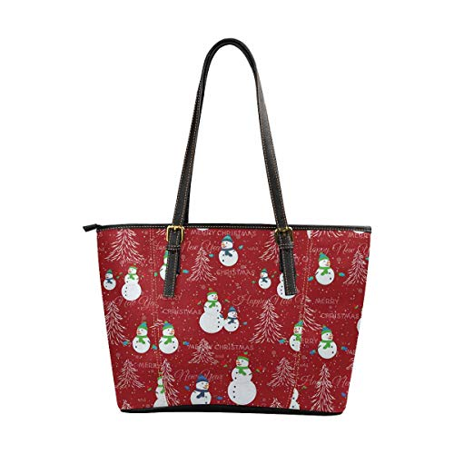InterestPrint Women Tote Bags Top Handle Handbags PU Leather Purse Christmas Tree, Snowman and Snowflakes