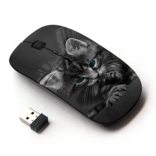 KawaiiMouse [ Optical 2.4G Wireless Mouse ] Cute Paw Kitten Whiskers Grey Baby Cat