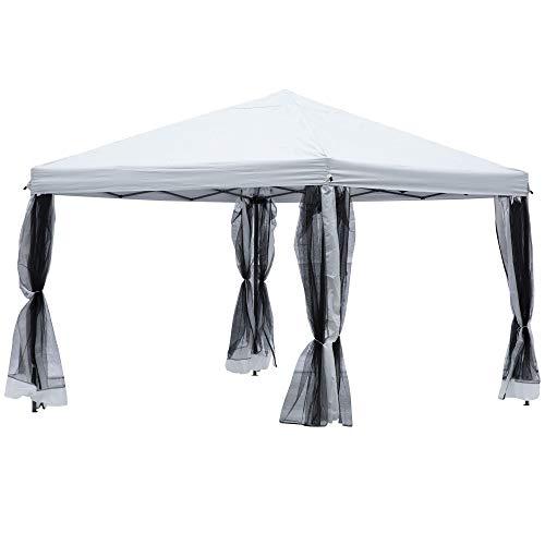 Outsunny Faltpavillon Pavillon Faltzelt mit Seitenwänden inkl. Tragetasche, Metall+Oxford, Weiß, 3x3x2,6m