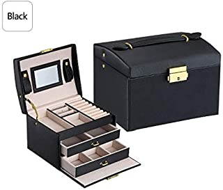 KMDSM Big Jewelry Box Multifunction Three Layers Large Capacity Leather Storage Jewelry Box with Mirror Watch Jewelry Orga...