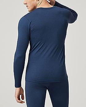 LAPASA Lot de 1 ou 2 Maillot de Corps Haut Thermique Homme Doublure Polaire Haut sous-Vêtement à Manches Longues - LÉGER ET Chaud M09/M55 (L, M09: Lot de 2 Bleu Chiné (Léger))