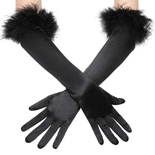 Coucoland Damen 1920s Handschuhe mit Feder Manschette Classic Opera Fest Party Audrey Hepburn Lang Handschuhe Damen Fasching Kostüm Accessoires (Stil 1 - Schwarz)