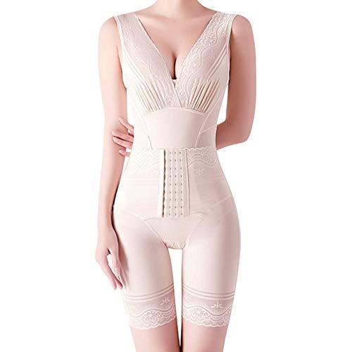JTKDL Shaper Cuerpo, Shapewear de Control de la abdomia para Mujer Body Transparente Abierto Busto Mid Musigh Cuerpo Cuerpo Shorts Shorts (Color : Beige, Size : X-Large)
