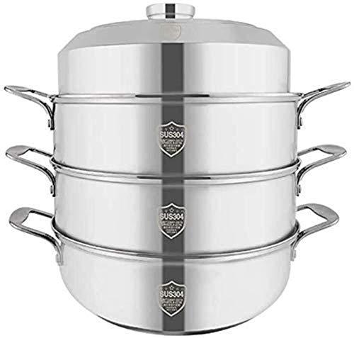 XY-M Steamer Professional Steamer Set 304 Plateau à Vapeur en Acier Inoxydable Gaz Universal Non-bâton Cuisine ménagère Cuisinière Pot de Cuisson 28cm (Couleur: 3 Animaux)