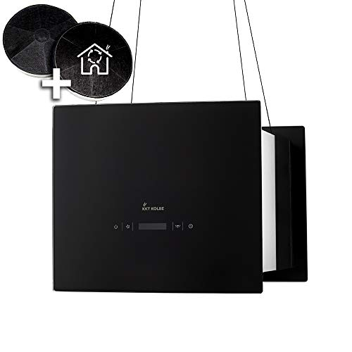 Design-Dunstabzugshaube, Inselhaube (40cm, Edelstahl, schwarzes Glas, Extra-leise, 4 Stufen, LED-Beleuchtung, TouchSelect Sensortasten, Seilbefestigung) BOX400S - KKT KOLBE