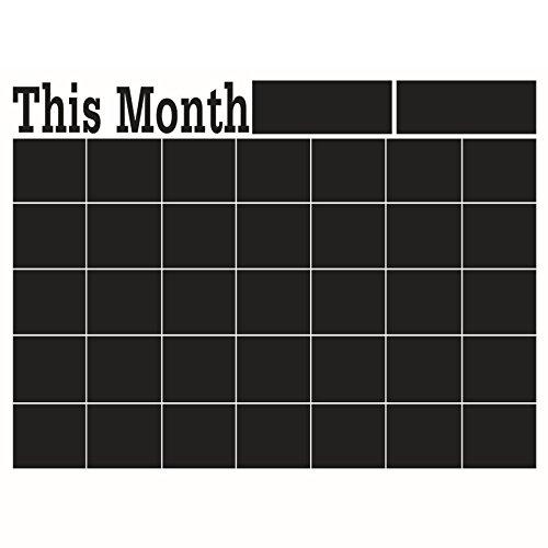 Cikuso DIY 58 * 43cm Engomada de Pared de Pizarra mensual, Pizarra Engomada de Pared de Vinilo removible de Pizarra Negra Pizarra Pegatina de Calendario Planificador Mural
