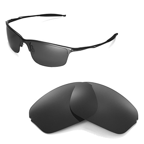 Walleva Polarized Black Replacement Lenses for Oakley Half Wire 2.0 Sunglasses